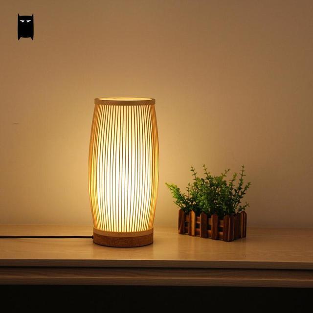 Round Bamboo Wicker Rattan Bucket Table Lamp Fixture
