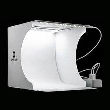 Mini katlanır Lightbox fotoğrafçılık fotoğraf stüdyosu Softbox 2 Panel LED ışık yumuşak kutu fotoğraf arka plan kiti ışık kutusu DSLR kamera için