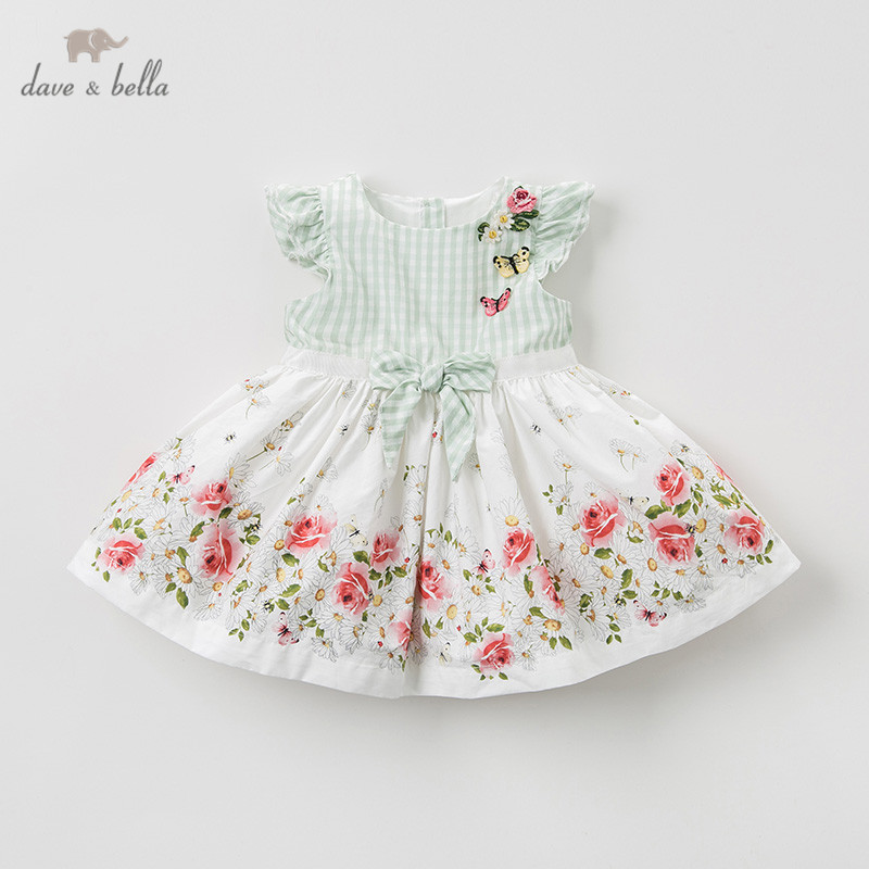 DB10140 dave bella summer baby girl s princess cute floral dress children fashion party dress kids
