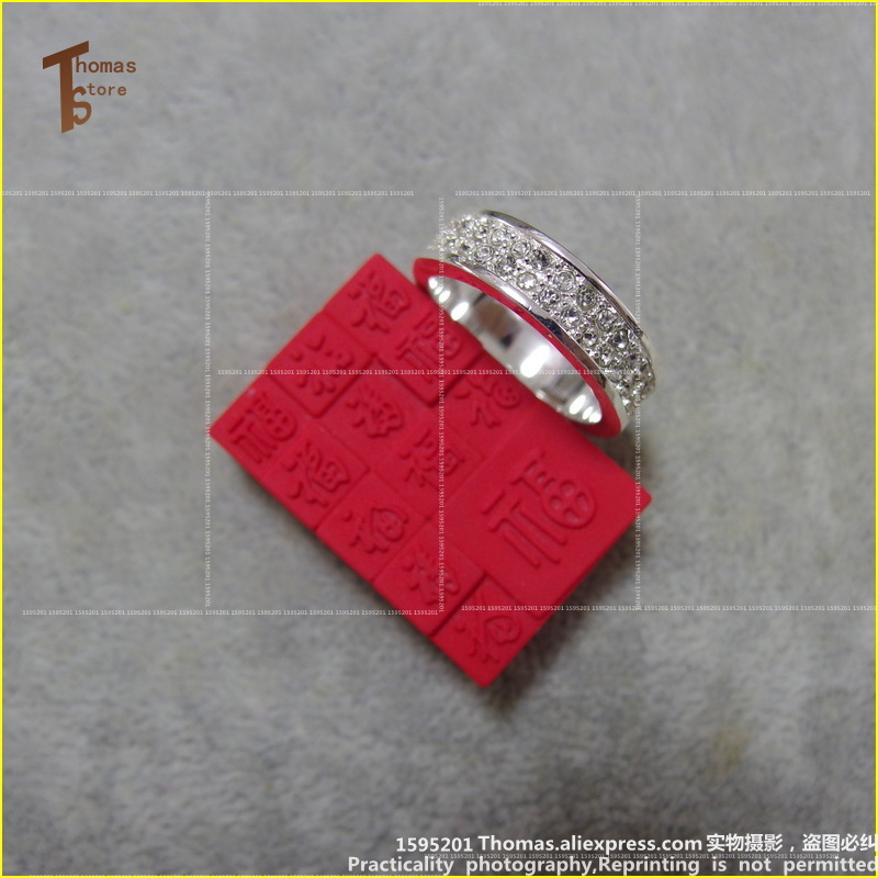 RS1259 два ряда кольцо евро-американском стиле глэм и уникальные ювелирные изделия для Для мужчин и Для женщин 2015 Ts подарок в с серебряным покр...