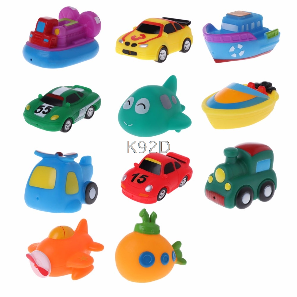 Cool Bath Toy Baby Toys Colorful Car Boat Soft Rubber Toys Swimming Pool Kids Water Spray for Boys Girls Safe Material D21