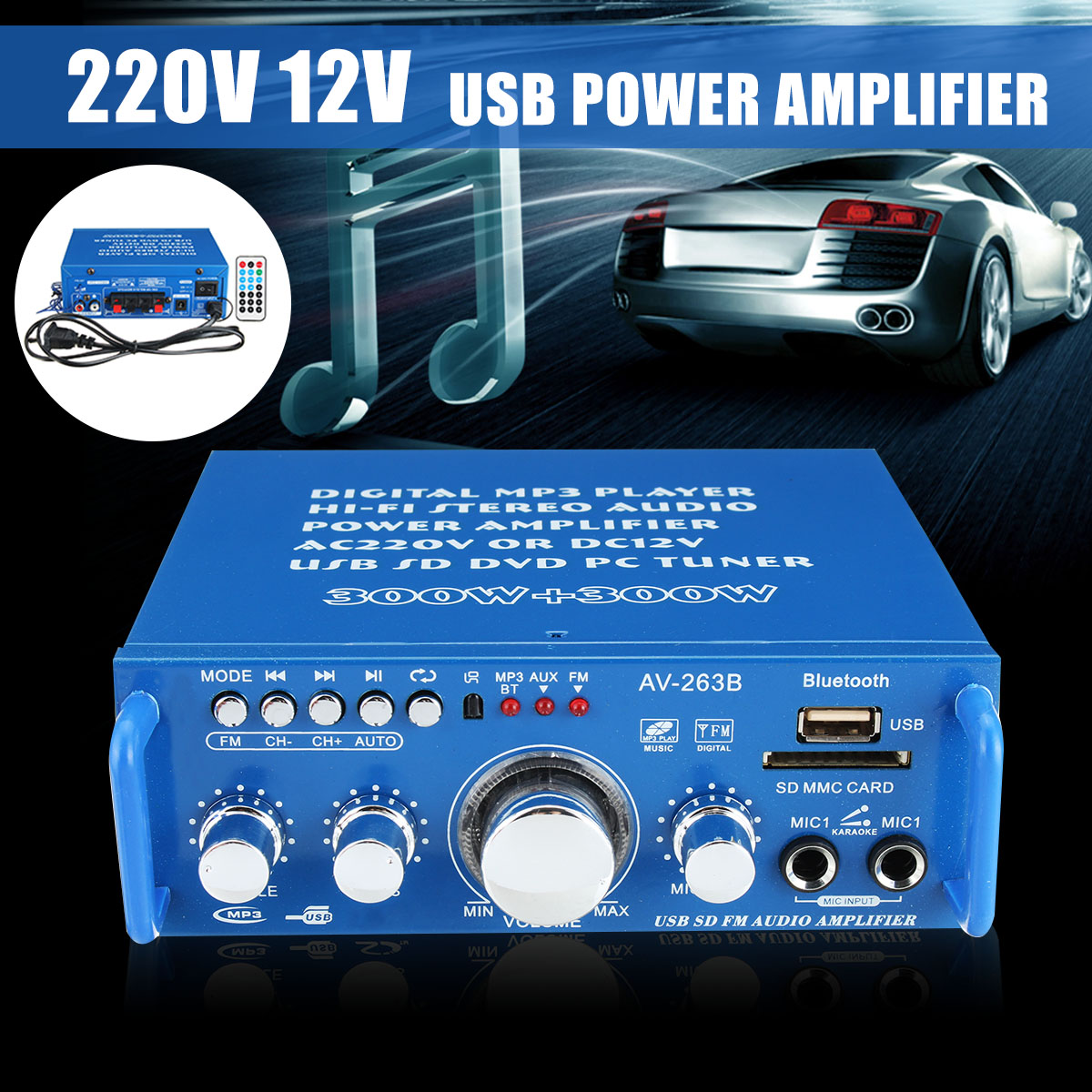 For Home Stage For Car Mini Dual Use Audio Power Amplifier Stereo USB SD FM Bluetooth Hi-Fi Player 220V/12V With Remote Control стоимость