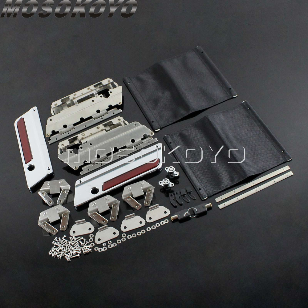 Chrome Latch Cover Hinge Saddlebag Bag Lock Hardware Kit for 1993 2013 Harley Touring FLT FLHT