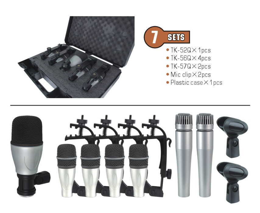 7kit 7 piece drum mic set in one box portable case for musical instrument jazz band condenser. Black Bedroom Furniture Sets. Home Design Ideas