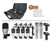 7kit 7 piece Drum Mic Set In One Box + Portable Case for musical instrument jazz band condenser microphones recording
