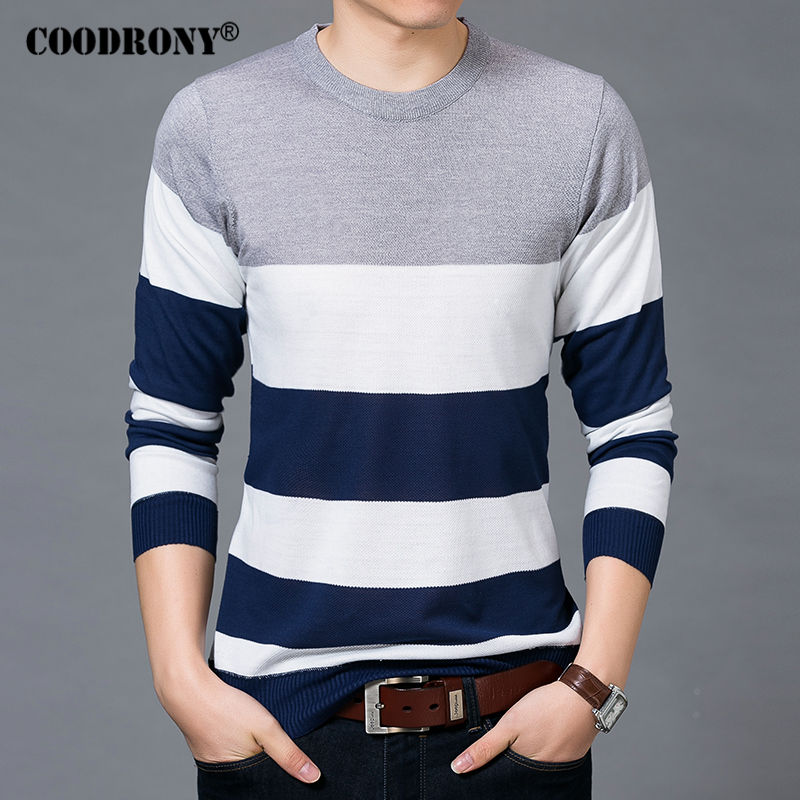 Coodrony Mens Sweaters O Neck Pullover Men Spring Autumn Knitted