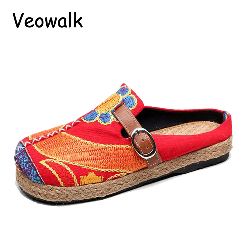 Veowalk Extreme Low Top Women Casual Linen Cotton Loafers Handmade Vintage Ladies Canvas Walking Hemp Flat Shoes Zapato Mujer e lov women casual walking shoes graffiti aries horoscope canvas shoe low top flat oxford shoes for couples lovers