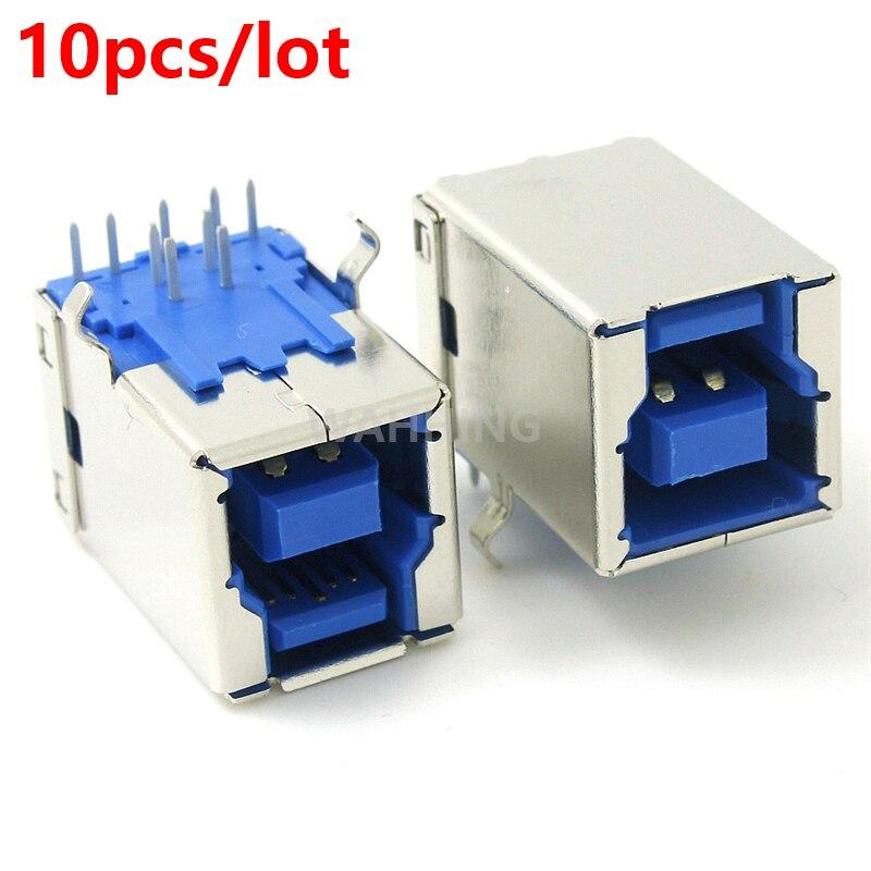 10pcs USB 3.0 B Female Adapter Connector Plug Socket USB 90 Degree USB3.0 B Type Steel Printer Connector Printing Plug HY1386