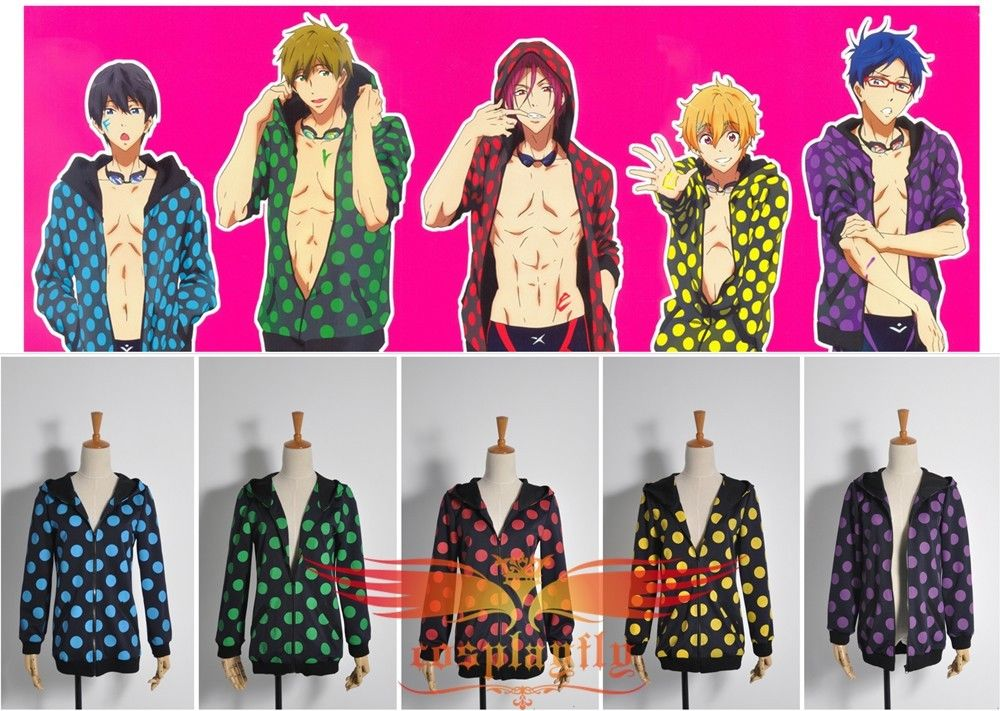 Top Coat Only Free! Iwatobi Swim Club Haruka Nanase Dot Jacket Five Colours Male Men Uniform Outfit Cosplay Costume For Leisure