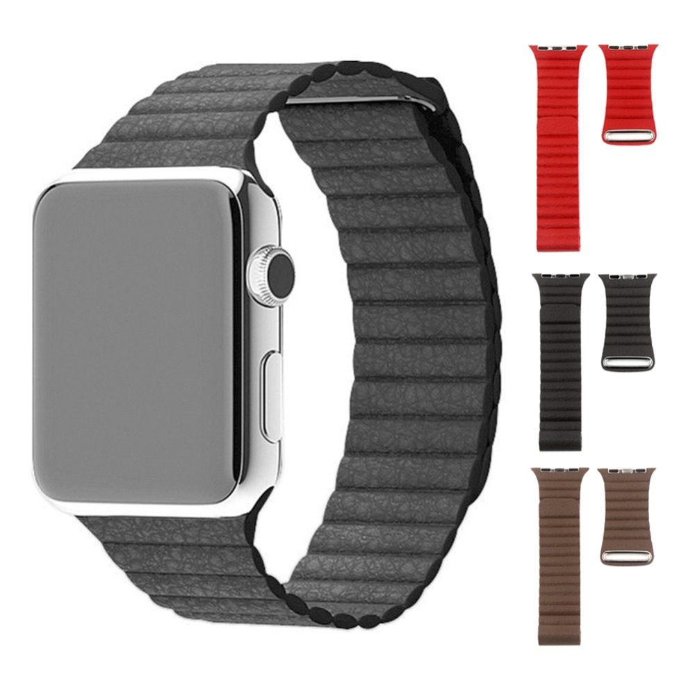 100% Genuine Leather Watch Band Loop Type Watch Strap Adjustable Magnetic Buckle Band For Watch 42mm Watchband