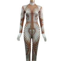 Sexy Print Jumpsuit Long Sleeve Sparkly Rhinestones Bodysuit Stage Dance Costume Female Singer Club Wear Party Outfit Plus Size