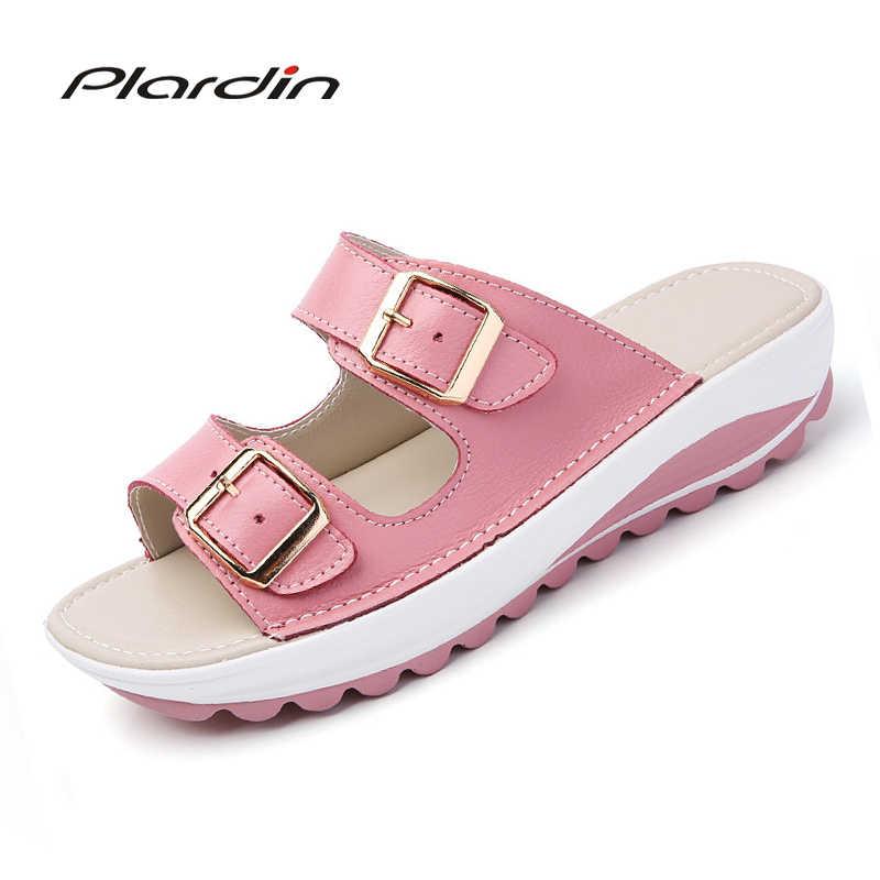 Plardin ผู้หญิงรองเท้าแตะหนังหนารองเท้าผู้หญิงฤดูร้อนผู้หญิง Bright เปิดรองเท้าแตะชายหาดรองเท้าแตะรองเท้าผู้หญิง
