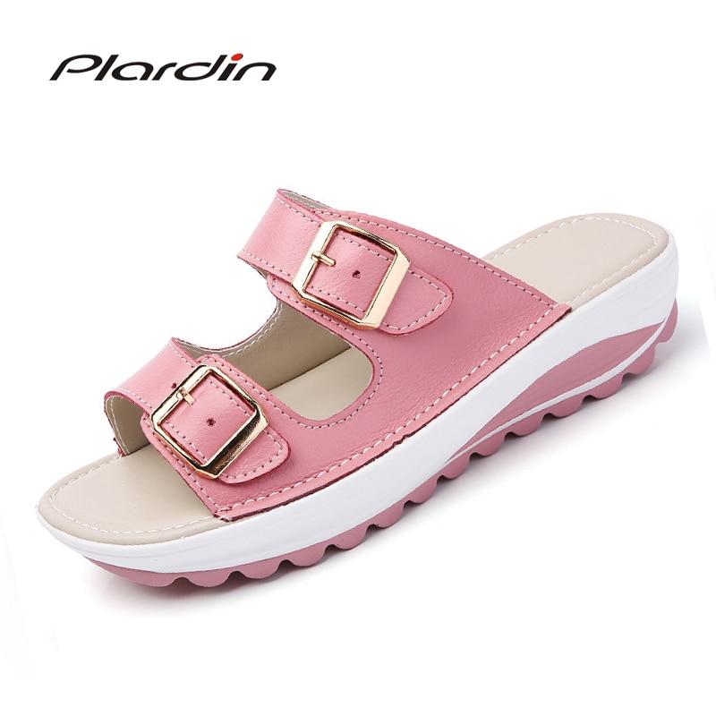 Plardin Women Buckle Sandals New Thick Leather Shoes Woman Platform Summer Women Bright Open Toe Beach Sandals Ladies Shoes