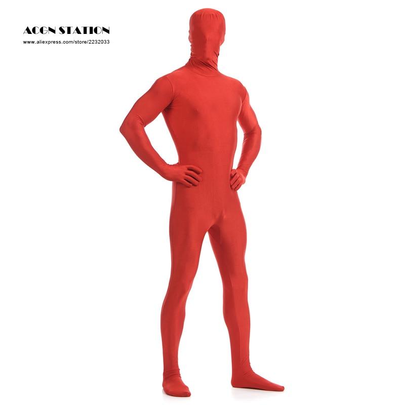 24hr доставлять 2018 RED лайкра спандекс Zentai костюм для Для мужчин Хэллоуин комбинезон срочный заказ/в тот же день доставка