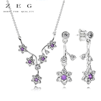 ZEG High Quality 100% Sliver Official Copy 1:1 Pan & Forget Me Purple Flowers Have Logo Women Fashion Jewerly Free Mail