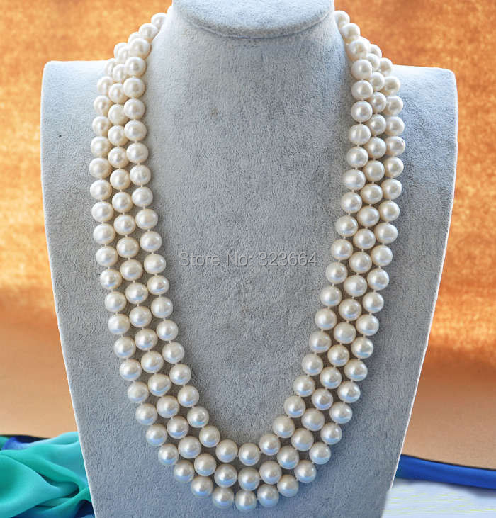 3ROW 25 12mm ROUND WHITE FRESHWATER PEARL NECKLACE3ROW 25 12mm ROUND WHITE FRESHWATER PEARL NECKLACE