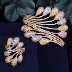 GODKI Fashion Luxury Super Shiny AAA Cubic Zirconia Women Width Feather Geometry Baguette Bracelet Bangle And Ring Set