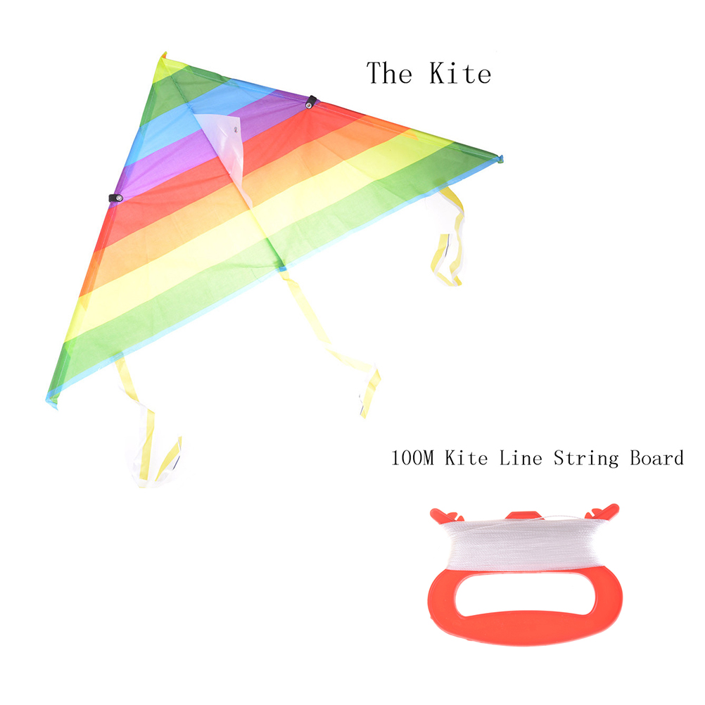 With Control Line Kites Outdoor Long Tail Nylon Rainbow Kite Toys For Kids Children's Kite Stunt Surf Triangle Flying Kite