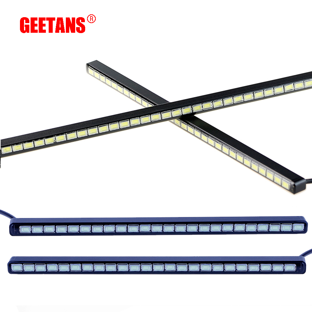 GEETANS 18/24/30 LED Stainless Steel IP67 Waterproof Ultra-Thin COB LED Daytime Running <font><b>Light</b></font> DRL Fog Car Lamp Source AJ image