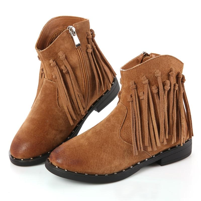 2019 Autumn Winter New Cowboy Children Shoes Girls Flat Leisure Tassel Shorts Boots Fashion Princess Older Children Bare Boots