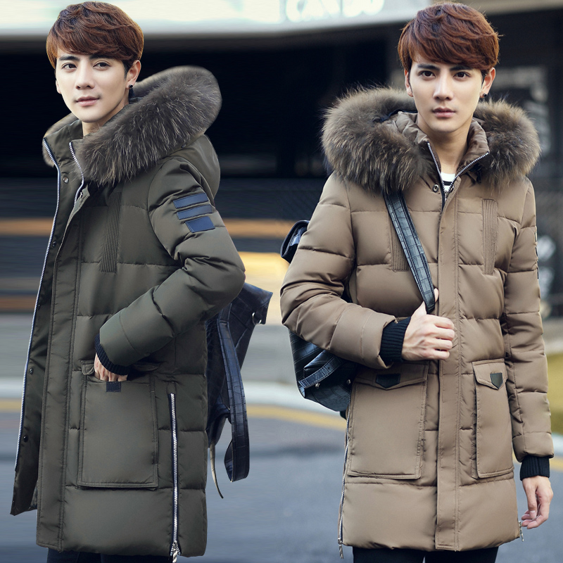 2016 men's new men's long down jacket thick winter coat Slim Youth australia new white goose down jacket female long thick knee thickening slim size winter coat