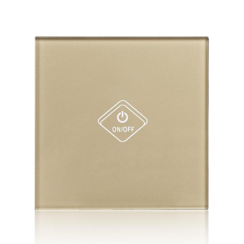 UK Standard Wireless Wall Light Switch 1 Gang Waterproof Tempered Luxury Gold Crystal Glass Panel AC 90-250V Wall Touch Switch funry uk standard 1 gang 1 way smart wall switch crystal glass panel touch switch ac 110 250v 1000w for light