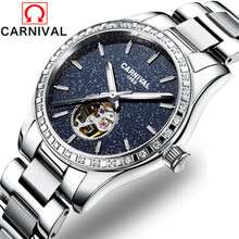 Carnival Top Brand Luxury Women Mechanical Watches Elegant Ladies Diamond Star Automatic Watch Stainless Steel Wristwatch Saat