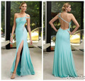 2016 sexy charming crystals long One Shoulder teal blue Prom Dresses sheath high split side backless chiffon evening party gowns