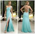 2016 sexy encanto cristales largo de Un Hombro azul del trullo Vestidos de Baile vaina alta dividir side gasa backless vestidos de noche vestidos del partido