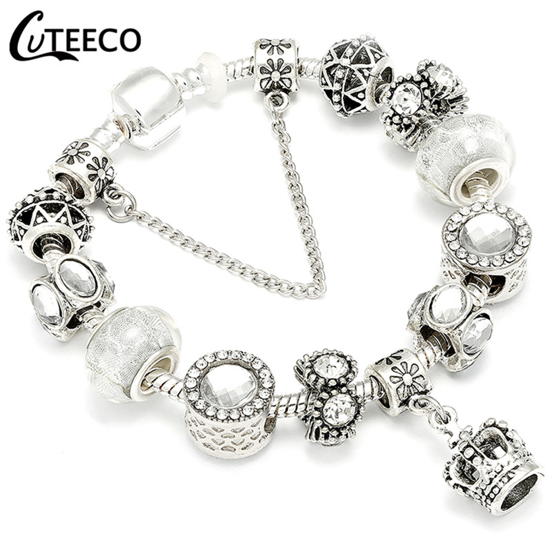 CUTEECO 925, модный серебряный браслет с шармами, браслет для женщин, Хрустальный цветок, сказочный шарик, подходит для брендовых браслетов, ювелирные изделия, браслеты - Окраска металла: AE240