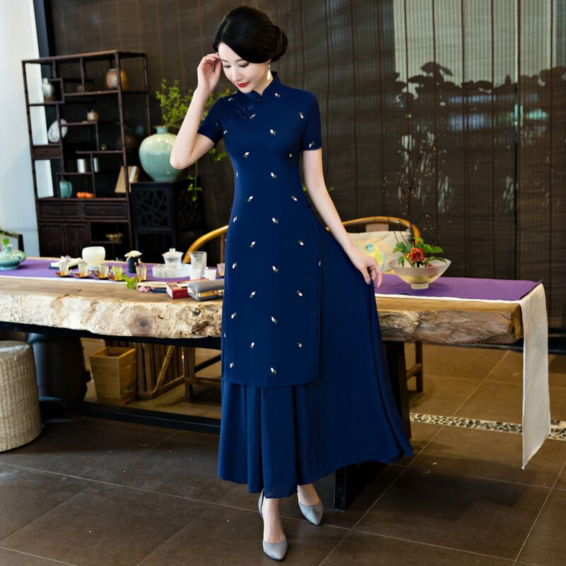 Fashion Chinese Style Women's Long Cheongsam New Arrival Cotton Linen Dress Elegant Qipao Vestidos Size S M L XL XXL XXXL 125765 женское платье brand new 2015 vestidos 5xl s m l xl xxl xxxl 4xl 5xl