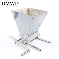 DMWD Newest Stainless 2 roller Barley Malt Mill Grain Grinder Crusher household manual Malt Grinders brewed beer maker equipment