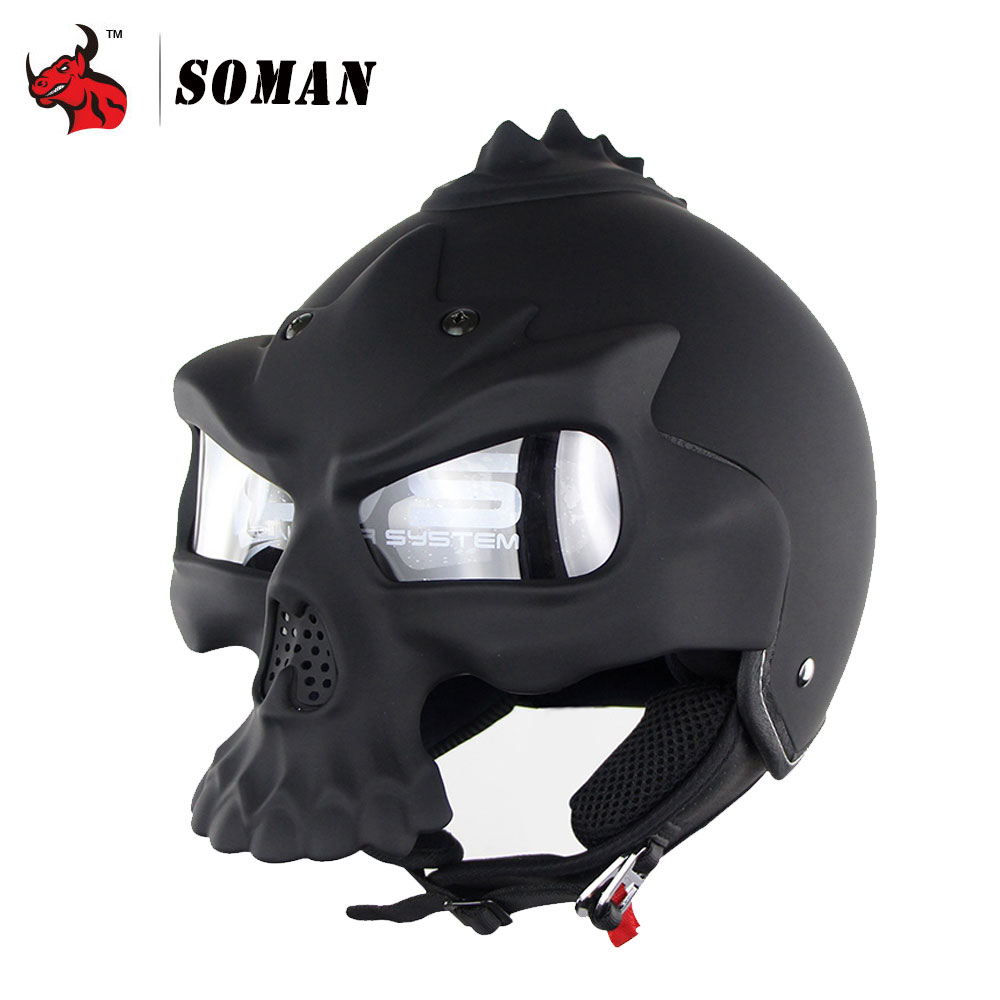 SOMAN Novelty Retro Casque Skull Motorcycle Helmet Double Lens Motorbike Half Face Helmet Personality Capacete De Moto Black protective outdoor war game military skull half face shield mask black