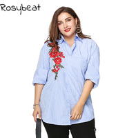 Plus Size Fashion Flower Embroidery Blouse Women Tops 2017 3xl Xxxl Shirt Women Summer Tops Big