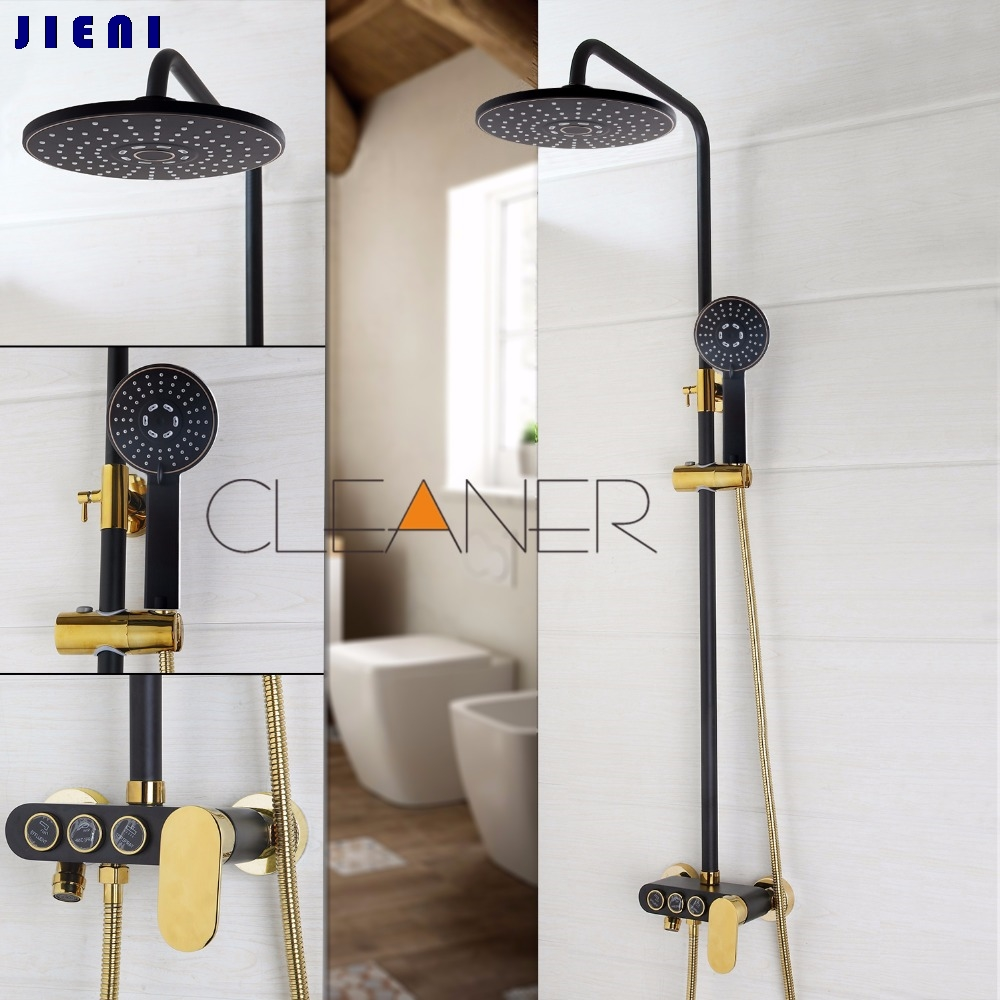 Black Gold-plated Wall Mounted Bath Shower Set Faucet Rotation Tub Spout + Handheld Shower Spray + Rainfall Head + Single Handle luxury single lever bath tub shower set wall mounted shower faucet hot