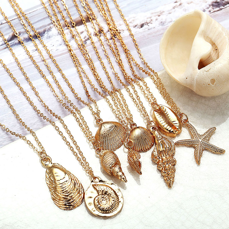 RE Metal Conch Seashells Necklace for Women Gold Chain Pendant Necklaces Summer Jewelry Bohemia 2019 Female Ocean Jewellery S34