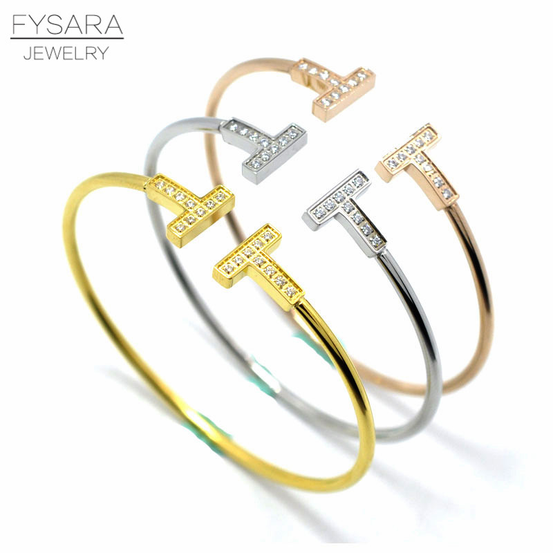 New Brand Bangle Top Quality Color Gold Stainless Steel Jewelry Inlay CZ Crystal Letter Noble Women Cuff Bangles Bracelets