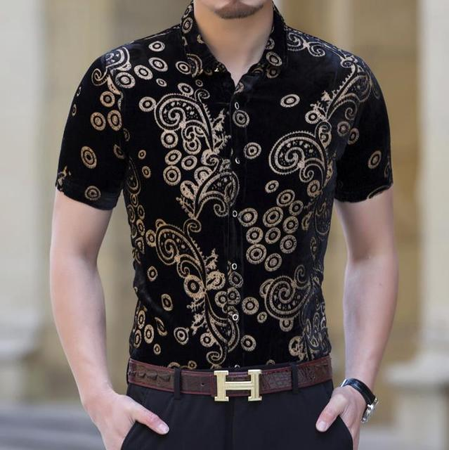 Mens Silk Shirts Black Velvet Shirts Casual Short Sleeve