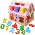 Цифровые Головоломки Детские Развивающие Деревянные Игрушки Малыша Розовый Дом Образовательные Деревянные Игрушки Куба Действий Деревянная Рамка Игры