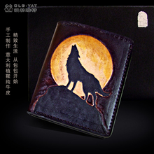 OLG. YAT The Wolf handmade carving wallet  Men's brief paragraph(vertical)purse/ wallet Italian pure leather wallets
