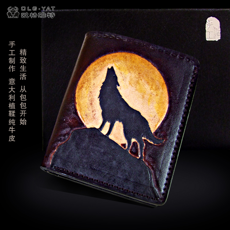 OLG. YAT The Wolf handmade carving wallet  Men's brief paragraph(vertical)purse/ wallet Italian pure leather wallets hong kong olg yat handmade carving wallet eagle mat men s brief paragraph vertical purse italian pure leather short wallets