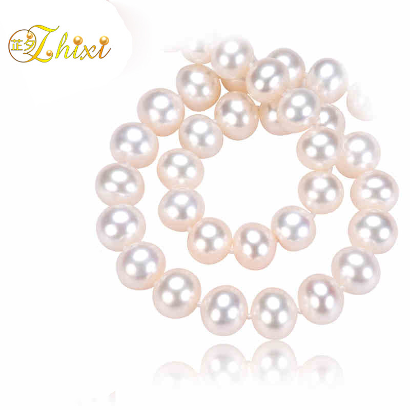 ZHIXI Natural Pearl Necklace 8-9mm Round Freshwater Pearl Chokers Necklace White Fine Jewelry Anniversary Gift For Women T05