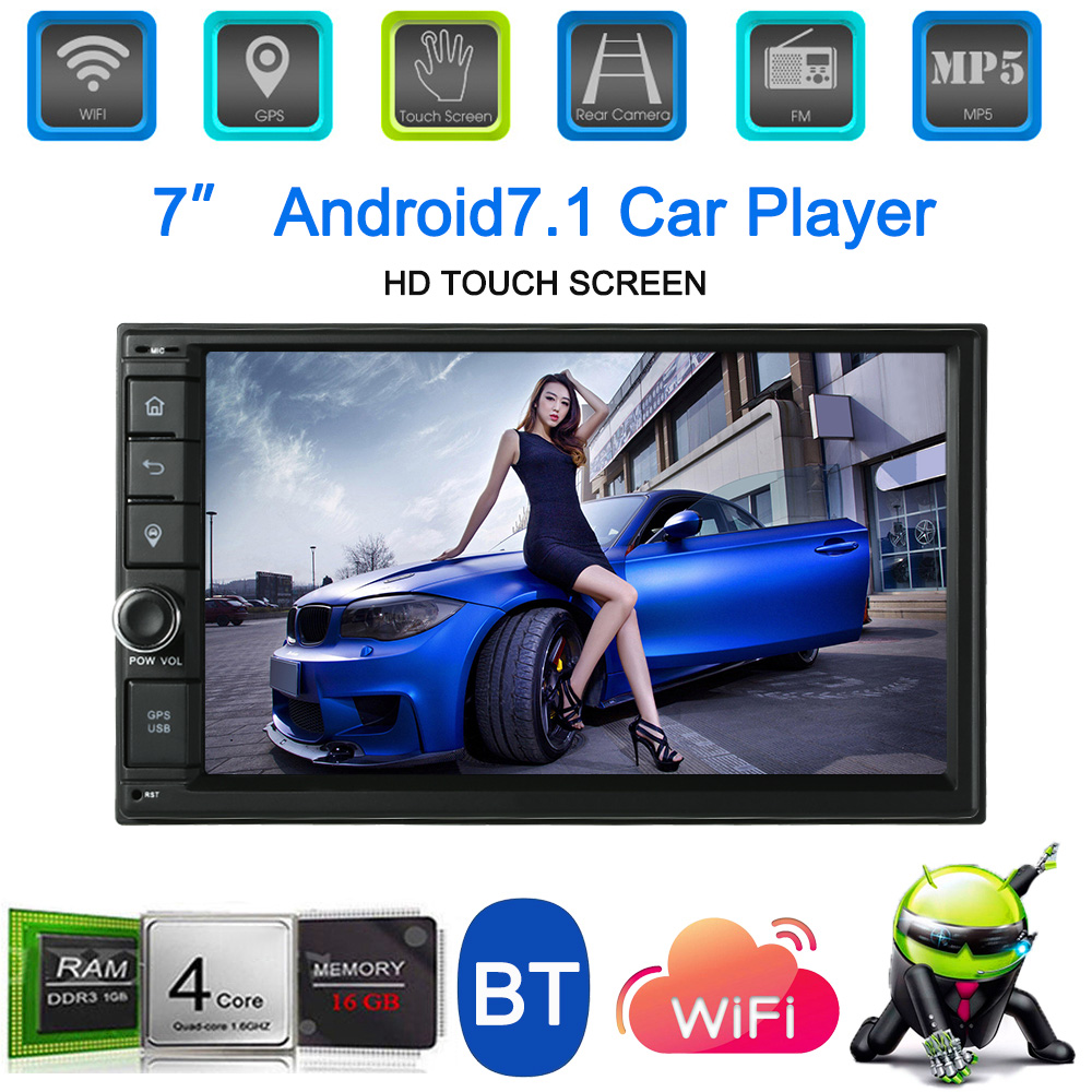 Android 7.1 7'' 2 Din Car Stereo Radio MP5 MP3 Player GPS Navigation with Wi-Fi BT AM/FM/RDS Aux in for bmw e46 e90 цена