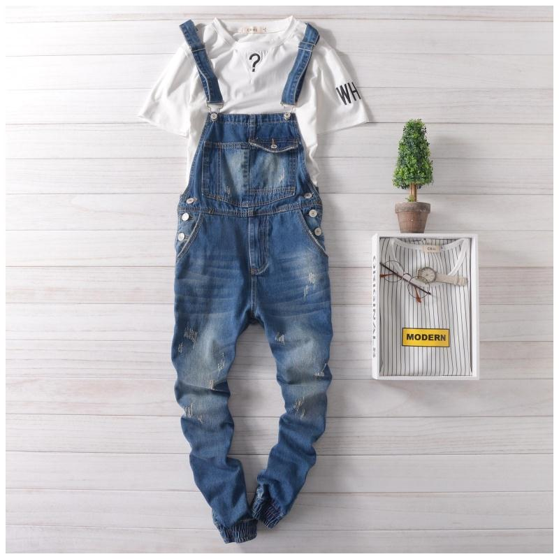 Summer denim overalls and a couple of Siamese suspenders men s jeans nine feet