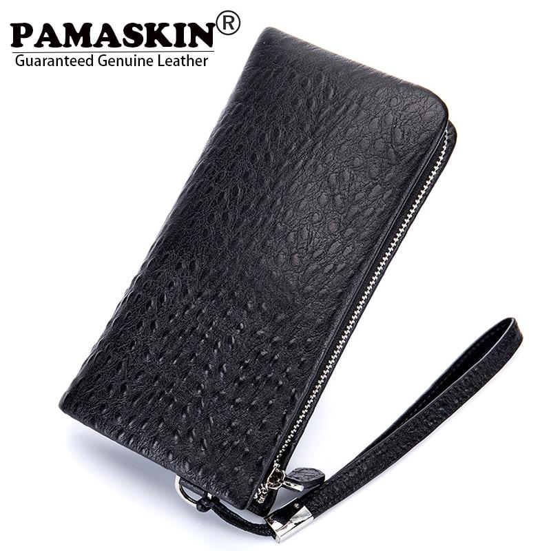 PAMASKIN Brand Business Men Long Zipper Wallets Premium Genuine Leather Fashion Ostrich Pattern Male Clutch Purse with Hand Rope feidikabolo brand men wallets business