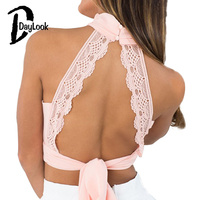 DayLook 2016 Summer Crop Top Pink Plunge High Neck Sexy Deep V Backless Lace Bralette Pleated