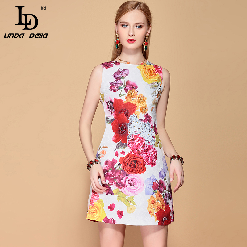 LD LINDA DELLA 2019 Fashion Designer A Line Summer Dress Women s Sleeveless Casual Rose Floral