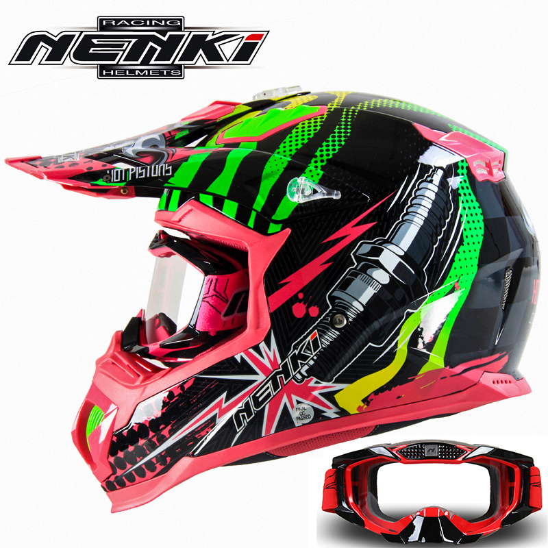 NENKI Fashion Motocross Full Face Helmet Extreme Sports Motorcycle ATV Dirt Bike MX BMX DH MTB Racing Helmet with Goggles 315