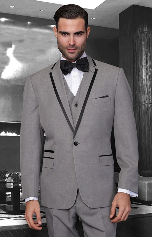 Best Selling Gray Men Suits 1 Button Notch Lapel Formal Wedding Party 3Pieces(Jacket+Pant+Tie+Vest)Terno Masculino Custome Made