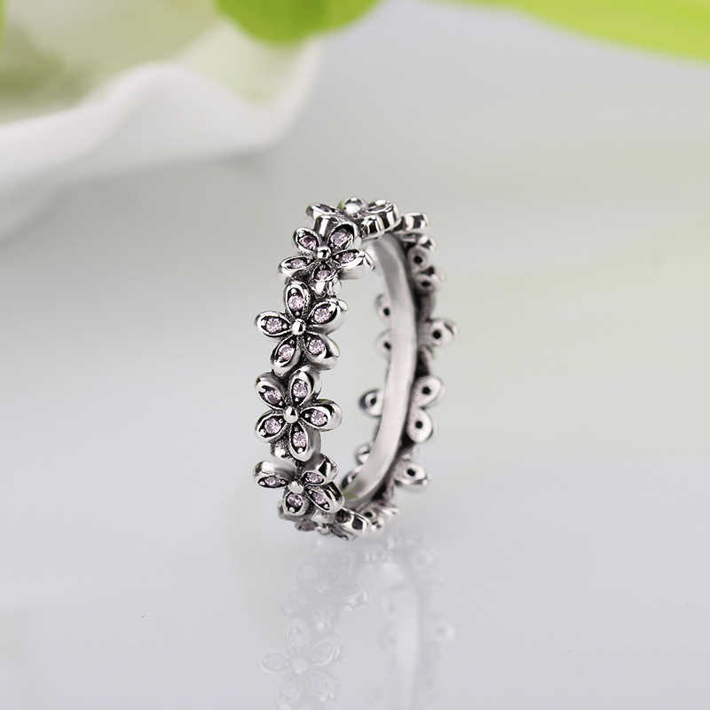 b5d758e09 HOMOD Silver Color Flowers Pandora Finger Rings Dazzling Daisy Meadow Stackable  Ring, Clear CZ For